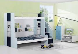Modern Bed With Storage Bedroom White And Blue Smart Kids Bunk Bed With Storage Ladder