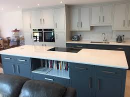 what are slab kitchen doors 1909 slab door in painted dove grey and slate kitchen