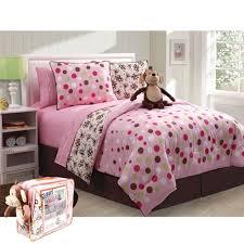 Monkey Bedding Sets Pink Brown Monkey Bedding Full Bed In A Bag Polka Dot For Girls