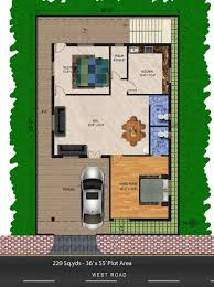 220 sq yds 36x55 sq ft west face house 2bhk floor plan for more