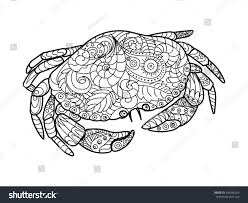 crab sea animal coloring book adults stock vector 406540264