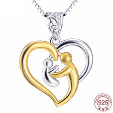 necklace silver gold images Genuine 925 sterling silver gold plated heart mother baby pendant jpg