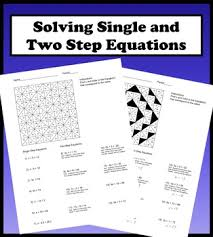 solving single and two step equations color worksheet by aric thomas