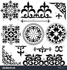 set kazakh asian ornaments patterns stock vector 257622439