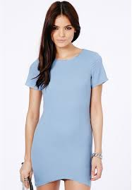 missguided kanona asymmetric shift dress in pastel blue where to