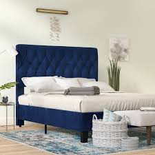 Blue Bed Frame Bronx Kirtley Upholstered Panel Bed Reviews Wayfair