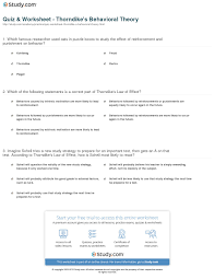 quiz u0026 worksheet thorndike u0027s behavioral theory study com