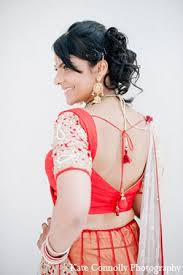 indian wedding bride hair blouse red lengha in neptune new jersey
