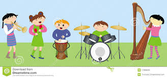 happy children playing instruments royalty free stock images
