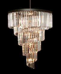 New Chandeliers by Retro Odeon Crystal Glass Fringe Helix 5 Tier Spiral Chandelier
