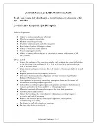 Duties Of Front Desk Officer by Cover Letter Resume Description For Receptionist Resume Summary