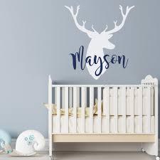 personalized deer antlers name wall decal rustic nursery zoom