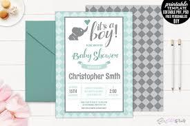 mint and grey elephant baby shower invi design bundles