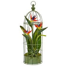 Home Decor Bird Cages Nearly Natural Indoor Tropical Birds Of Paradise Artificial