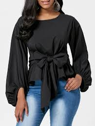 belted blouse puff sleeve belted blouse in black xl sammydress com