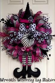 halloween pink u0026 black deco mesh witch wreath fall wreath xl