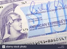 American express travellers cheque traveller 39 s check stock photo