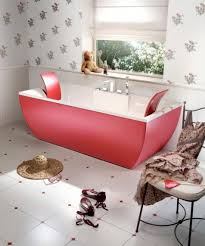bathroom red accent free standing bathtub for small bathroom with