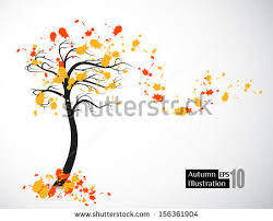 abstract composition autumn trees on light stock vector 318651626