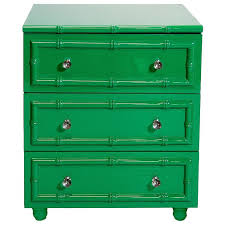 lacquer bamboo edged 3 drawer nightstand