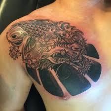 koi chinese japanese oriental tattoo chest lotus flower