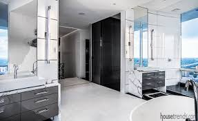 This Modern Bedroom Features Silk Silver Marble Effect by Bathroom Vanity Photos