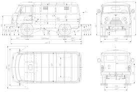 uaz 452 car blueprints 1965 uaz 452 3741 van blueprint