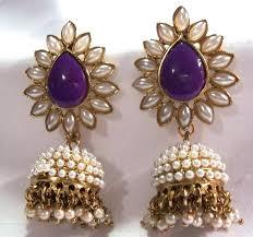buy jhumka earrings online buy aashiqui 2 earrings purple polki pearls jhumka earrings online