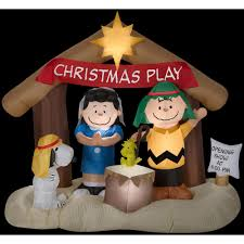 Home Depot Inflatable Christmas Decorations 6 Ft W X 5 8 Ft H Peanuts Nativity Scene 88124x The Home Depot