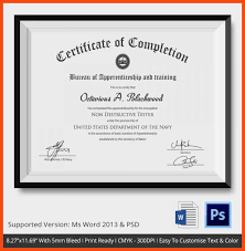 certificate of completion template program format