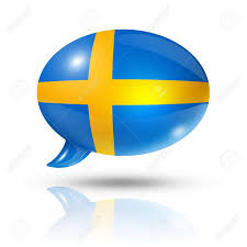 Flag Sweden Three Dimensional Sweden Flag In A Speech Bubble Isolated On White