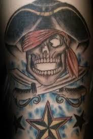 Nautical Star Tattoo Ideas Cool Pirate Skull With Nautical Star Tattoo Design For Sleeve