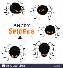 halloween white background cartoon scary black spiders set isolated on white background