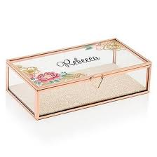 personalized jewelry box floral gold personalized jewelry box