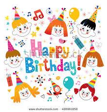 happy birthday kids card stock vector 91407167 shutterstock