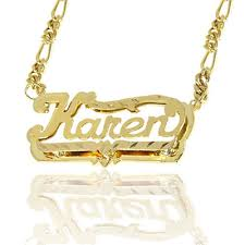Nameplate Necklace Double Plated 24k Gold Over Silver Double Plate Diamond Cut Name Necklace
