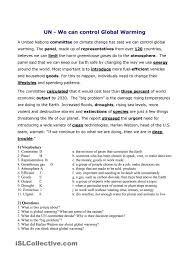 Global Warming Worksheet Conversation Lesson On Global Warming And Environmental Problems