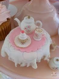 edible tea set cupcake topper gumpaste teacup by greencaligo