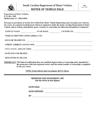 south carolina motor vehicle bill of sale form templates