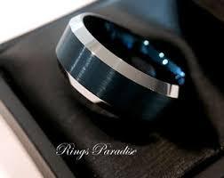 Blue Wedding Rings by Blue Tungsten Wedding Bands Meteorite Rings Men U0027s