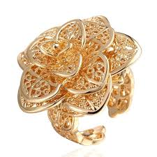 girls rings beautiful images 2015 new design 18k gold plated ring finger opening flower charm jpg