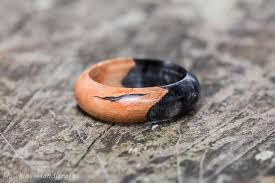 fusion wedding band black acrylic and wood ring black silver acrylic resin ring