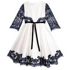 girls white u0026 blue lace dress childrensalon