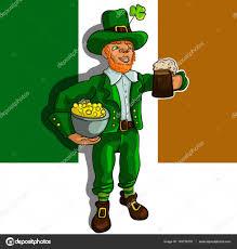 Pot Flag Print A Leprechaun With A Pot Of Gold And Beer Mug The Symbol Of