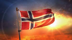 norway flag backlit at beautiful sunrise loop slow motion 4k