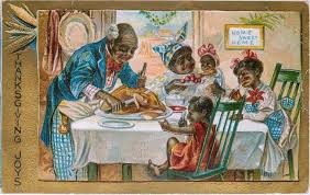 thanksgiving joys black family dinner postcard 14 95