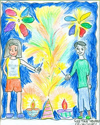 diwali paintings drawing pictures scene diwali sketch for kids
