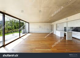 modern concrete house hardwood floor wide stock photo 101721946