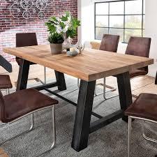 Esszimmer Tisch Deko Laval 200x100 Cm In Eiche Massiv Metall