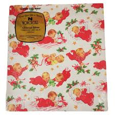 wrapping paper sheets vintage norcross christmas babies gift wrap paper 2 jumbo sheets nos